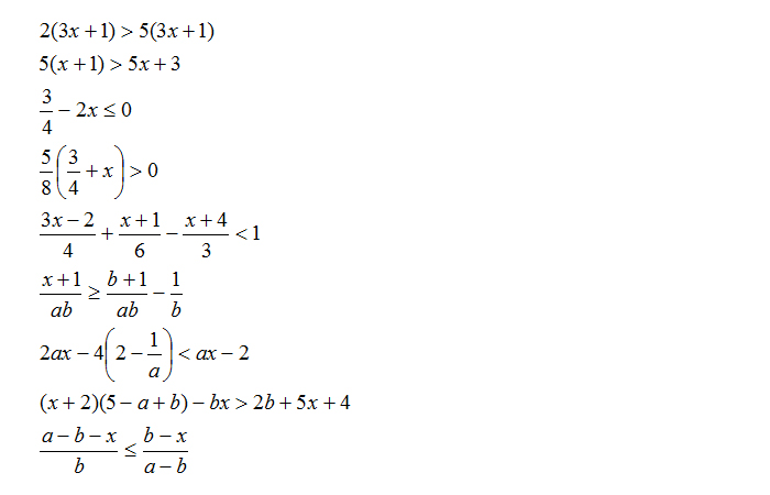 Esercizi sulle disequazioni di primo grado con soluzioni for Problemi di primo grado a due incognite esercizi