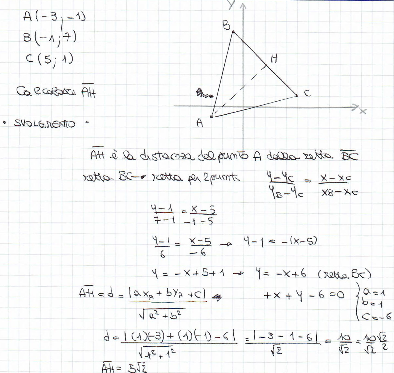 Risultato esercizio geometria analitica