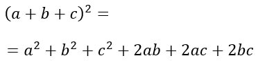 Prodotti notevoli quadrati di trinomi